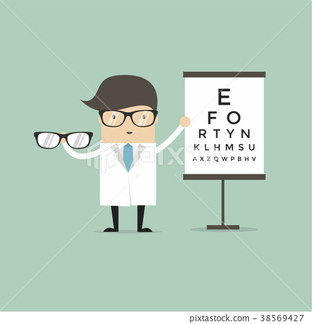 Ophthalmologist holding eyeglasses with eye chart. 38569427