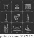 Asian famous landmarks. 38570371