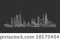 World skyline. Illustations in outline style 38570404