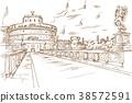 Castel Santangelo hand draw, Rome. 38572591