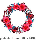 Watercolor wreath of chrysanthemums 38573094