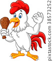Cartoon rooster holding fried chicken and giving O 38573252