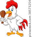 Cartoon rooster holding fried chicken 38573254