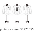 Vector set of white shirts with tie, bow-tie on 38573855