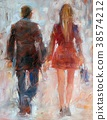 woman and man walking ,back view .Handmade oil 38574212
