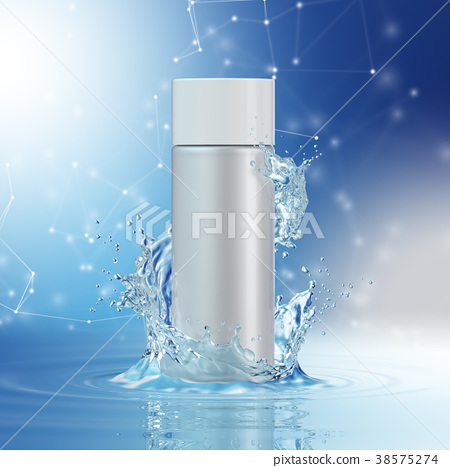 Cream bottle mock up in water splash on blue 38575274