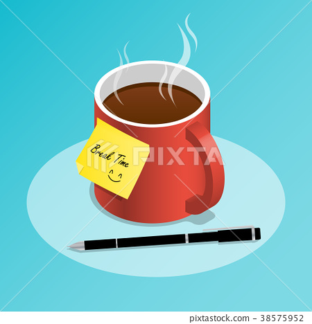 isometric cup off coffee,coffee break time vector 38575952