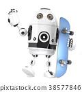Robot skateboarder. 3D illustration 38577846