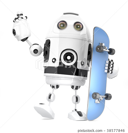 Robot skateboarder. 3D illustration 38577846