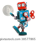 Retro Robot holding bitcoin coin. 3D illustration 38577865