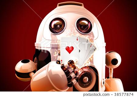 Robot playing poker. 3D illustration 38577874