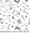 seamless pattern of sewing tools and materials or 38578701