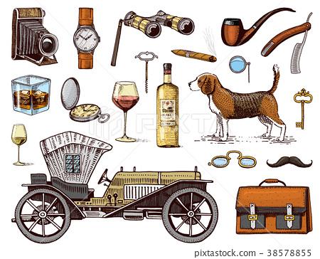 Gentleman accessories hand drawn set. Victorian 38578855