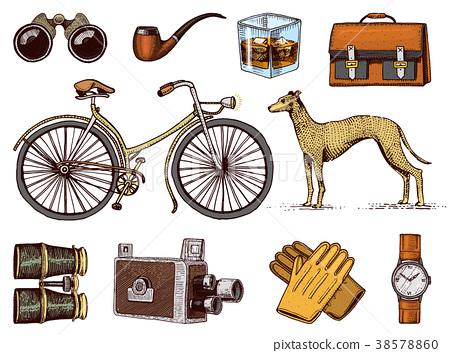 Gentleman accessories hand drawn set. Victorian 38578860