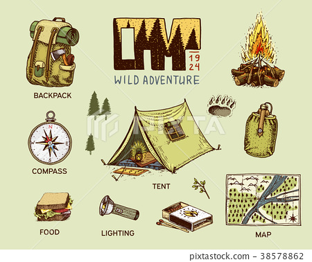 camping equipment set, outdoor adventure, hiking 38578862