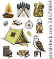camping equipment set, outdoor adventure, hiking 38578864