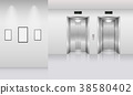 Realistic elevator in office building 38580402