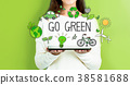 Go Green with woman holding a tablet 38581688