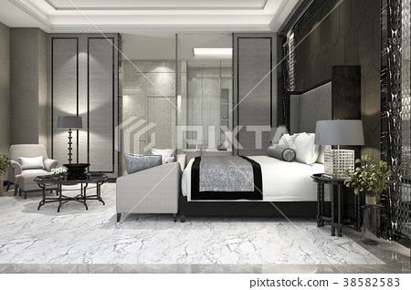 luxury suite bedroom in hotel near glass bathroom 38582583
