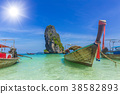 Wooden boat for tourist in Thailand sea travel 38582893