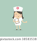 Nurse smiling and holding clipboard. 38583538
