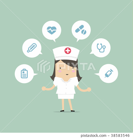 Nurse with medical icons. 38583546