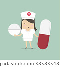 Nurse standing with pills, healthcare concept. 38583548