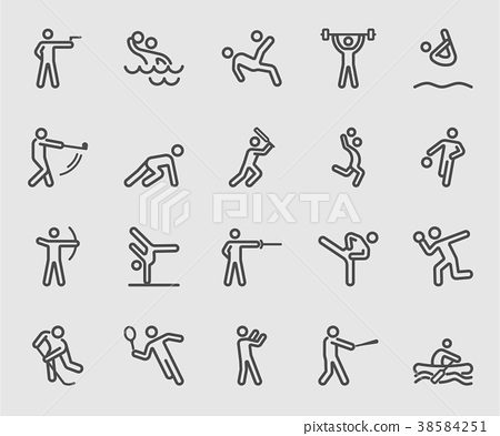 Sports action 2 line icon 38584251