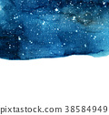 Watercolor night sky background with stars. 38584949