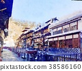 Watercolor painting of Ginzan Onsen in winter 38586160