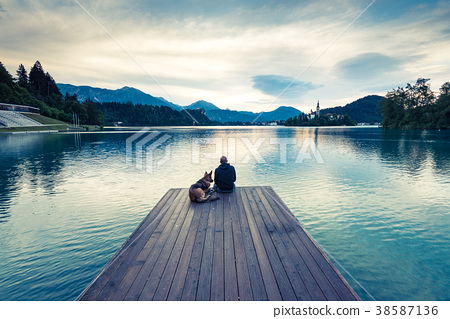 Couple travellers in Slovenia Bled lake. 38587136