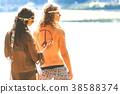 Pretty hippie girl with hat and bag 38588374