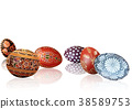 Easter Background with Easter Eggs and Reflections 38589753