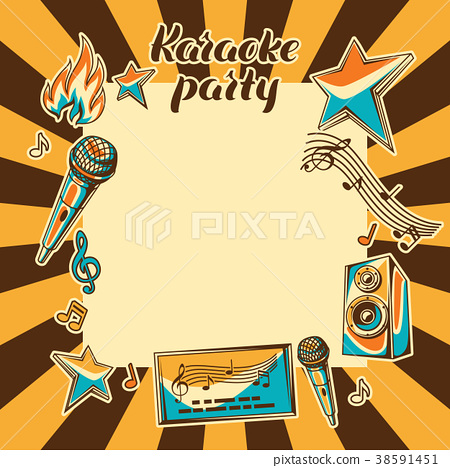 Karaoke Party Card Music Event Background Stock Illustration