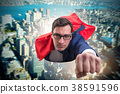 Flying super hero over the city  38591596