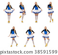 Cheerleader isolated on the white background 38591599