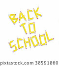 Back to school design elements, pencil typography. 38591860