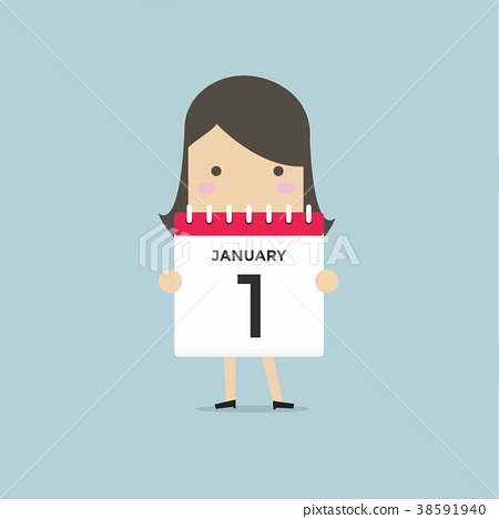 Businesswoman or manager hold a calendar. 38591940