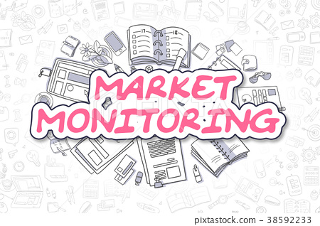 Market Monitoring - Doodle Magenta Text. Business 38592233