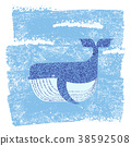 Whale in blue sea background.Vector illustration 38592508
