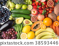 Rainbow fruits and vegetables, top view 38593446