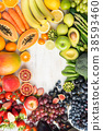 Rainbow fruits and vegetables, top view 38593460