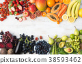 Rainbow fruits and vegetables, top view 38593462