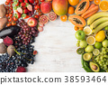 Rainbow fruits and vegetables, top view 38593464
