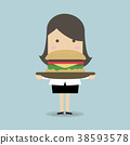 Businesswoman carrying a big hamburger. 38593578