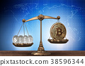 bitcoin, scales, 3d 38596344
