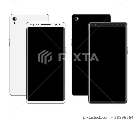 Smartphones front and back view 38596364