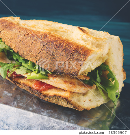 Chicken burger with italian bread 38596907