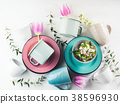 Spring crockery concept with tulips flowers 38596930