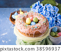 Easter sweet cake with sugar frosting and holiday 38596937